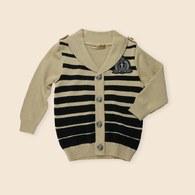 KA條紋雙色假鈕扣線衫上衣