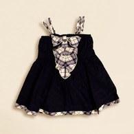 經典格紋平口女童洋裝 (黑色)
