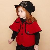 KA氣質披風翹女孩外套-紅色