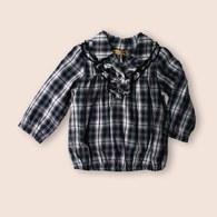 KA經典質感格紋多層荷葉邊女童上衣 (共二色)