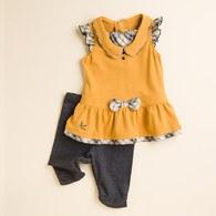 圓領荷葉袖裙擺上衣+內搭褲 (黃色)