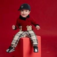 KA毛毛熊休閒上衣+格褲套裝-紅色
