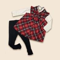 KA經典格傘狀套裝內搭+褲子-共二色