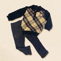 KA高領經典格上衣+素色褲-共二色