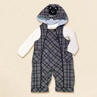KA紫格+POLO上衣套裝-灰色
