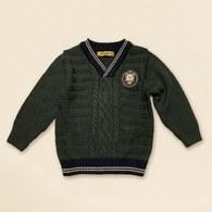KA針織V領男童上衣-綠色