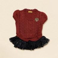 KA針織+紗裙感造型女童上衣-共二色