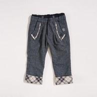 KA仿毛料反折格紋長褲