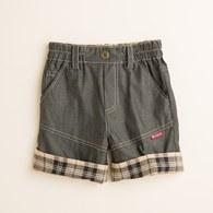 KA天絲棉牛仔格紋反折短褲