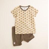 【最後現貨】KA滿版印小熊短袖套裝 (卡色)