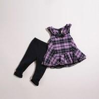 KA時尚粉格女童套裝