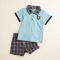 KA 格紋P0LO衫休閒套裝 (水藍色)