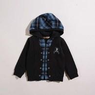 KA時尚水格假兩件式連帽上衣(共二色)