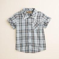 KA格紋男童襯衫 (水藍色)