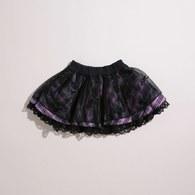 KA粉格紋蕾絲邊短裙
