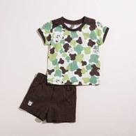 【最後現貨】KA男生款迷彩熊套裝(綠色)