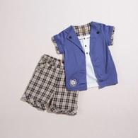 KA長纖維棉男童格褲套裝(共二色)