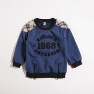 KA厚款內刷毛圓領配格上衣(藍色)