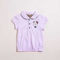 KA下擺鬆緊小熊印花女生POLO衫(共二色)