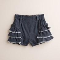 KA結紗牛仔雙荷葉超短褲