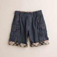 KA結紗牛仔反折格短褲