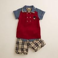 KA牛仔剪接雙排釦男童套裝