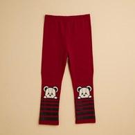 KA熊熊褲管橫條貼身棉褲(共三色)