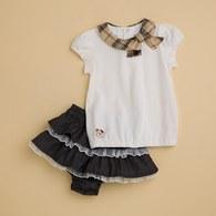 KA蝴蝶結格紋領+蛋糕裙套裝