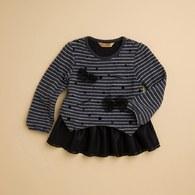 KA層次感網紗裙襬條紋上衣