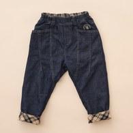KA屁屁熊反折格紋小寬感長褲(藍色)