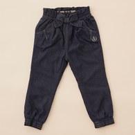 KA女孩系腰間綁蝴蝶結長褲(藍色)