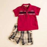 KA POLO衫休閒格紋男套裝 (共二色)