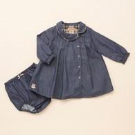 KA牛仔配經典格紋洋裝套裝+小褲褲(藍色)