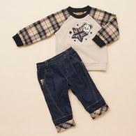 KA經典格紋STAR熊上衣+長褲套裝(共二色)