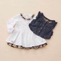 KA經典格紋純白洋裝套裝+小背心(白色)