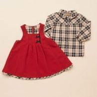 KA經典格紋襯衫+吊帶裙套裝(紅色)