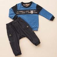 KA經典格紋條紋熊上衣+長褲套裝(藍色)