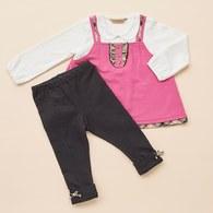 KA假二件式傘狀上衣+內搭褲套裝(共二色)