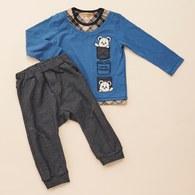 KA經典格紋HELLO熊上衣+長褲套裝(共二色)