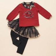 KA女孩熊造型上衣+內搭褲裙套裝(共二色)