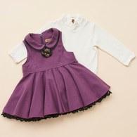 KA優雅純色洋裝+素色上衣套裝(紫色)