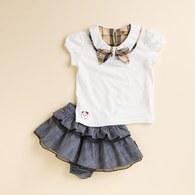 KA蝴蝶上衣+印花蛋糕裙套裝 (共二色)