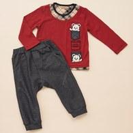 KA經典格紋HELLO熊上衣+長褲套裝(紅色)