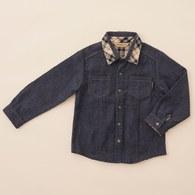 KA經典格配襯衫男童上衣(藍色)