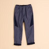 KA細直條熊頭長褲(藍色)
