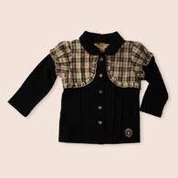 KA經典格紋假兩件式背心棉質上衣 - 黑色