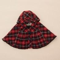 KA紅格紋戴帽披風(紅色)