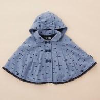 KA滿版小蝴蝶結戴帽披風(水藍色)
