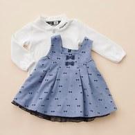 二件式滿版小蝴蝶結裙套裝(水藍色)