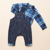 藍格紋休閒吊帶褲套裝(藍色)